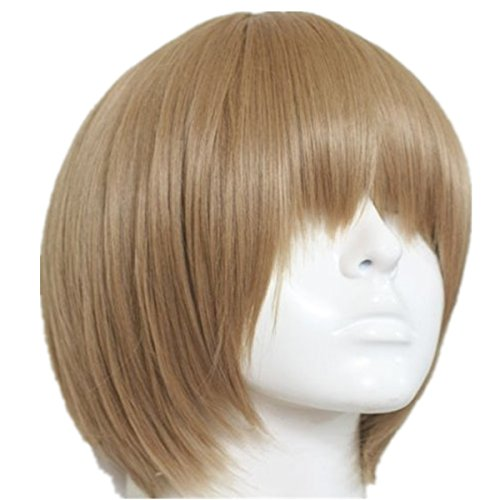 EZ2WORLD Gintama Okita Sougo Silver Soul Tea Brown Short Cosplay Hair Wig