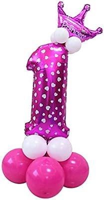 MagiDeal Todos Números Globo Corona Columna Colección Feliz Cumpleaños Decoración de Casa - #1
