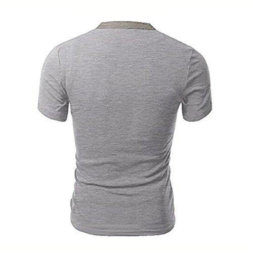 Herren Kurzarm V-Ausschnitt Knopf Dekor Patchwork-T-Shirts aus Baumwolle T-Shirts (XL, hellgrau)