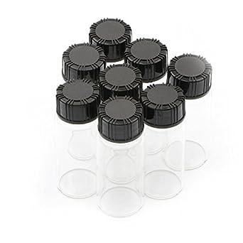8pcs Sample Glass Bottles With Plastic Screw Black Cap Transparent Glass Lab Vials 10ml SWHstore