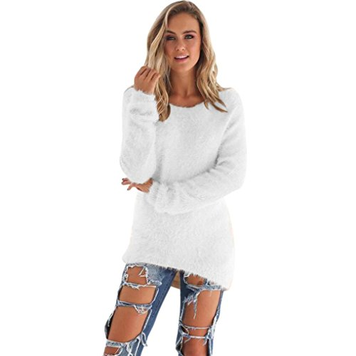 Kemilove Women's Casual Knit Pullover Loose Fluffy Fuzzy Furry Sweater (XL, White)