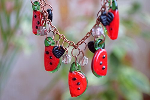 Fall Lampwork Beads (Watermelon necklace Fruit jewelry beaded summer Lampwork necklace Glass bead necklace Fall necklace Berry Mini Food Teen girl gift Women gift Lampwork beads Fruit jewelry)