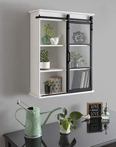 "Kate and Laurel Barnhardt Decorative Wooden Wall Cabinet with Sliding Glass Door, 22"" x 28"", White, Barndoor Modern Farmhouse Storage"