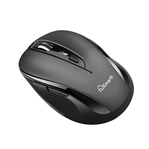 emarth 2.4G Wireless Silent Mäuse, optische Geräuschunterdrückung leise Click Mäuse mit USB-Nano-Empfänger, 5Tasten 1600dpi Ergonomisches Design, für PC/Computer/Laptop, grau