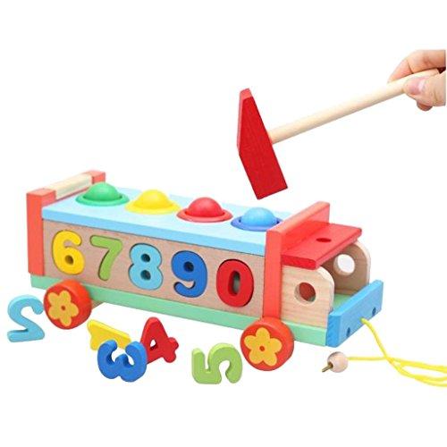 【ノーブランド 品】おもちゃ 子供 教育玩具 木製 車 解体ねじナット ボール ノック プレゼント マルチカラーの商品画像
