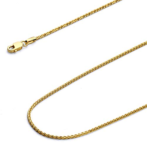 Wellingsale 14k Yellow Gold 1.5mm Diamond Cut Round Wheat Chain Necklace with Lobster Claw Clasp - 20