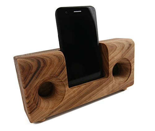 Boumbi Fragrant Camphor Laurel Wood Cell Phone Stand with Sound Amplifier (Classic V 8.5x4)