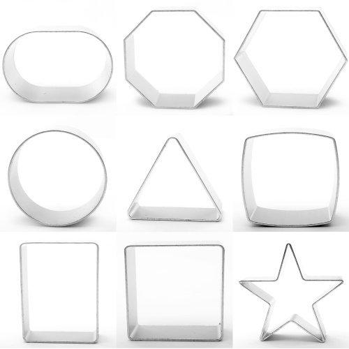 9 piece Cookie Cutter Set Simple Shapes Baking Cake Decorating by Yolli