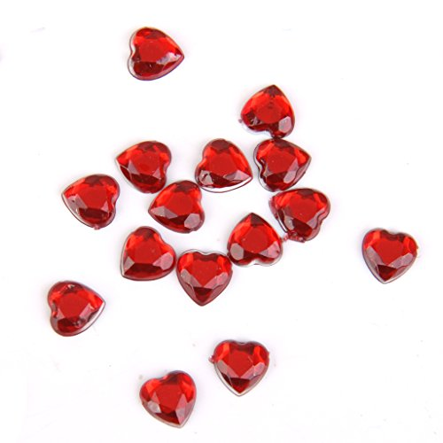 Dovewill 6 Colors 8mm Heart Shape Rhinestone Flat Back Embellishment Wedding Gift Wrap Decor Scrapbook Crafts Beads DIY Charms Pack of 500 - Red