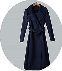 Women Winter Woolen Coat Elegant Super Quality Thick Warm Cashmere Coat Navy Xxxl