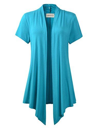 (LARACE Women Cardigan Open Front Lighiweight Short Sleeve Drape Cardigans(L, Lake Blue))