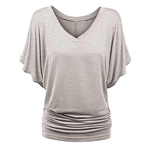 Price comparison product image Womens Short Sleeve Fzitimx Summer New Shirts Large Size V Neck Loose Bat Wing Short Sleeve Ruched Top Tunic Tee Shirt