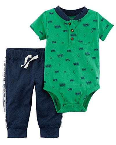 100% Cotton Bodysuit Set - Carter's Baby Boys' 2 Piece Bodysuit and Pants Set (Navy and Green, 24 Months)