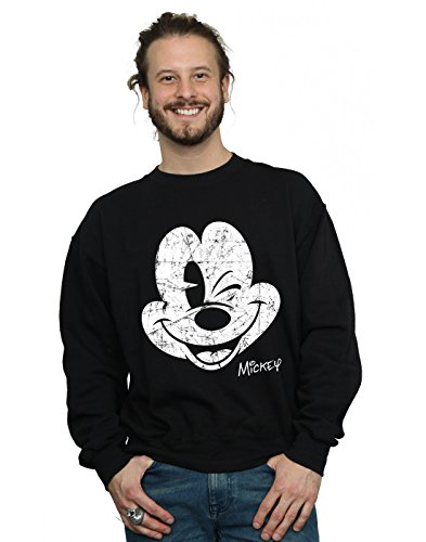 Disney Men's Mickey Mouse Distressed Face Sweatshirt Small Black -