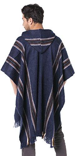 Oscuro Rústico De Poncho Marrones Azul En Capucha Alpaca Con Gamboa Tonos Rayas q0wdE5P