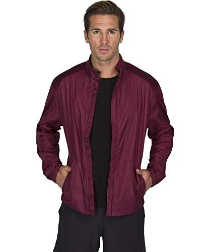 Three Sixty Six Full Zip Golf Jacket for Men - Lightweight Mens Rain Coat - Water Resistant Windbreaker Dark Burgundy