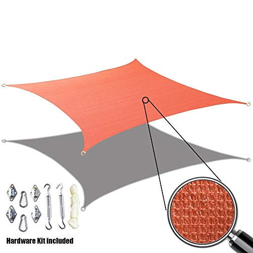 Alion Home Sun Shade Sail Custom Size with Stainless Steel Hardware Kit – Rectangle, Terracota Red 11 x 12
