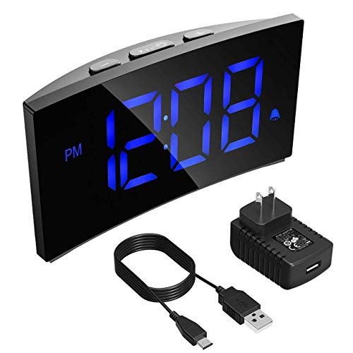 PICTEK Alarm Clock, Kids Digital Alarm Clock 5 inch Dimmable Curved LED Screen Time Clock for Bedrooms Desk Living Room, Snooze Function, 12/24 Hour, Battery Backup, USB Charger, Power Adapter ()