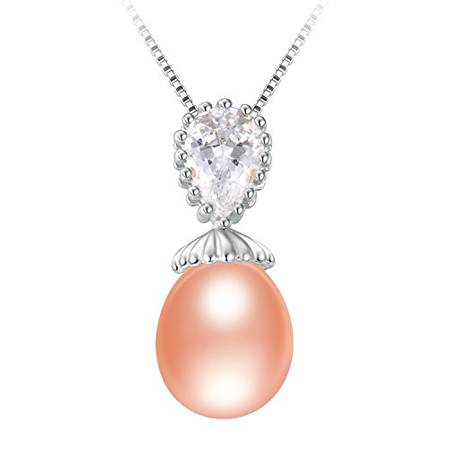 SuperLouisa Fashion 925 solid silver slide pearl pendants dazzling and and Immaculate pearls necklaces jewelry for gifts Pink - Rehoboth Outlets De