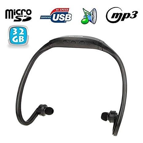 Cuffia MP3 Sport senza fili lettore audio micro SD Running Bicicletta Nero  32 GB fcf26e3611cb