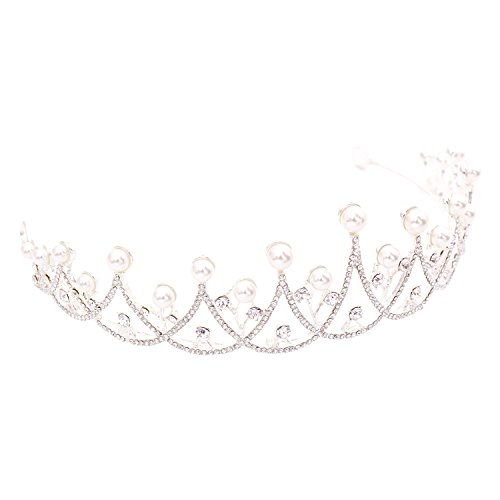CamingHG Handmade Baroque Women Tiara Crystal Floral Headdress Pearls Rhinestone Light Crowns Wedding Hair Accessories (silver) ()