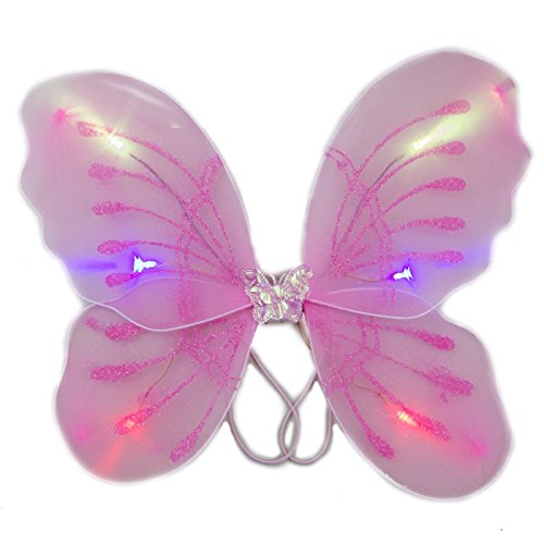 blinkee Light Up Pink Fairy Butterfly Wings by LED Halloween Costume for Trick or Treating and Night Time -