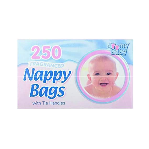 4 My Baby Nappy Bags with Tie Handles, 250 Sheets (White, O4PS-122741)