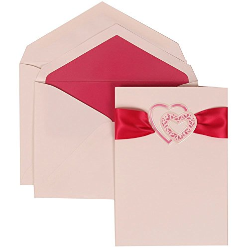 JAM Paper Wedding Invitation Set - Large (5 1/2'' x 7 3/4'') - White Card with Pink Heart and Ribbon, Pink Lined Envelopes - 50/pack by JAM Paper