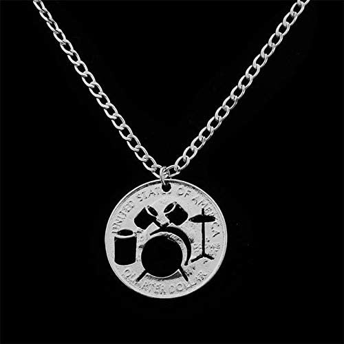 Davitu Hollow Drum Set Coin Pendant Necklace Musical Iinstrument Jewelry Gifts Fashion Silver Plated Women Men Coin Drum Kit Necklace Metal Color: Silver Plated