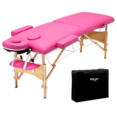 Uenjoy Folding Massage Table 84'' Professional Massage Bed 2 Fold Lash Bed with Head-& Armrest, Pink ()