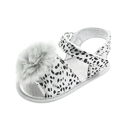 LNGRY Sandals,Toddler Kids Baby Girls Leopard Print Pompom Soft Sole Anti-Slip Sandal Crib Shoe (6-12 Months, Silver) (Silver Fabric Footwear)