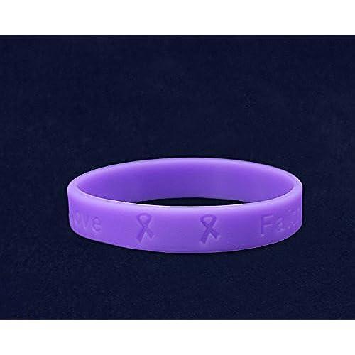 Hodgkin's Lymphoma Awareness Violet Silicone Bracelet - Adult Size - (1 Bracelet - Retail)