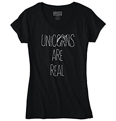 Unicorn Are Real Women Shirts Funny Picture Shirt Cute Graphic Junior V-Neck Tee