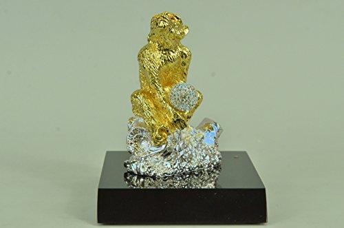 Sale 24k Gold Solid Brass - Handmade European Bronze Sculpture Vintage Solid Brass/24K Gold Covered Thinking Monkey Lost Wax Sale Deal Bronze Statue -SHO-445-1-Decor Collecti