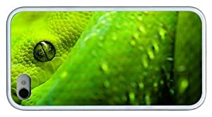 Hipster fun iPhone 4 covers Green Snake Look TPU White for Apple iPhone 4/4S