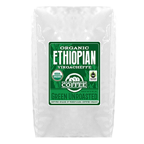 Green Unroasted Coffee, 5 Lb. Bag, Fresh Roasted Coffee LLC. (Yirgacheffe FTO)