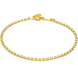 LIFETIME JEWELRY Iced Out Cubic Zirconia Anklet For Women 24k Real Gold Plated