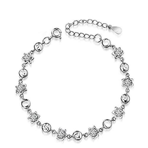 FAVOT Fashion Crystal White Silver Bracelet Fashion Creative Digital 520 Adjustable Hand Chain Girl (Silver)