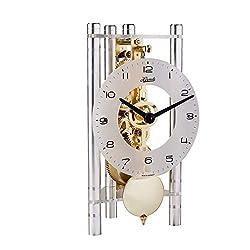 Hermle 23022X40721 Lakin Triangular Table Clock - Silver & Gold with an Arabic Glass Dial & Silver Pendulum