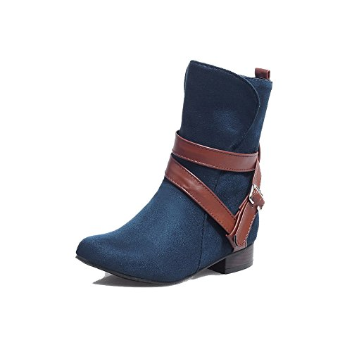 Allhqfashion Womens Low-top Pull-on Frosted Lage Hakken Ronde Laarzen Met Gesloten Neus Blauw
