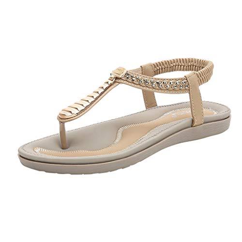 JJLIEKR Summer Women Flat Thong Sandals Glitter Crystal Stretch Strappy Slip-On Flip Flops Comfort Beach Shoes Beige ()