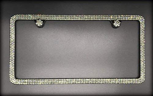 Bling 3 Row License Plate Frame made with Black Diamond Swarovski Crystals - Car Jewelry -  RVMdesigns