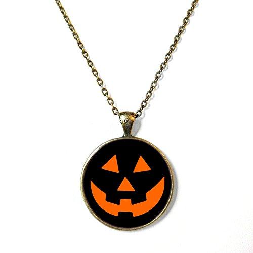 Black Close Up Jack O Lantern Halloween Necklace, 18
