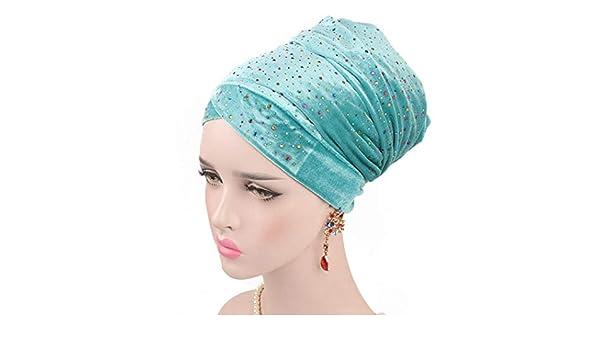 HYIRI Black Head Scarf Hat,Women Starry Velvet Long Tail Turban Cap African at Amazon Womens Clothing store: