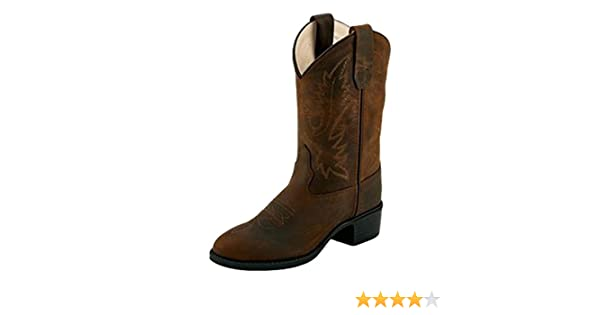 21b0cf57a83 Old West Children's Calf Leather TPR Sole Round Toe Western Cowboy Boots -  Brown