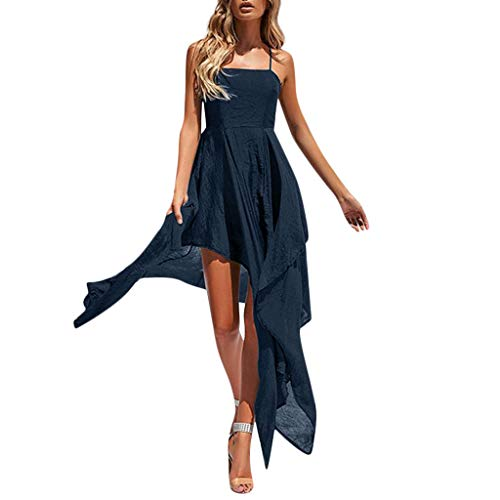 Aniywn Women Sexy Back Cross Strap Dress Irregular Split Maxi Party Dress Holiday Beach Long Beach Flowy Dresses Navy ()