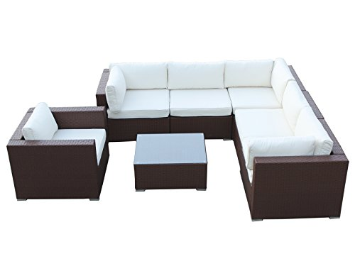California 7 Pieces Outdoor Patio Wicker Sofa Sectional Furniture Set, Brown For Sale