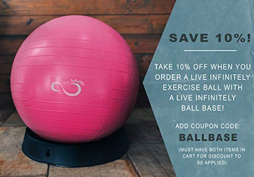 Live Infinitely Exercise Ball (55cm-95cm) Extra Thick Professional Grade Balance & Stability Ball- Anti Burst Tested Supports 2200lbs- Includes Hand Pump & Workout Guide Access Pink 55cm by Live Infinitely (Image #6)