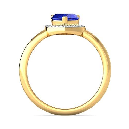 14K Or jaune, 0.11carat Diamant Blanc (IJ | SI) tanzanite et diamant Bague