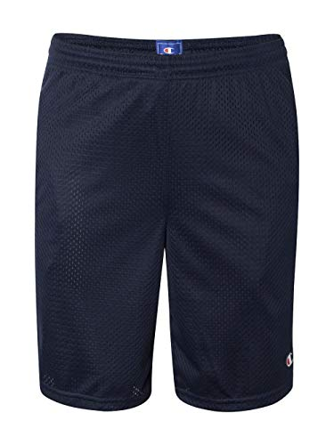Logo Gym Shorts - Champion  Men's Long Mesh Short With Pockets,Navy,LARGE